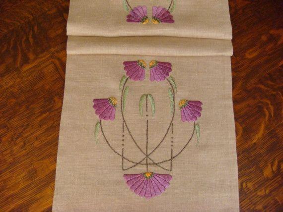 Camino de mesa de seda manualidades estilo Craftsman bordada