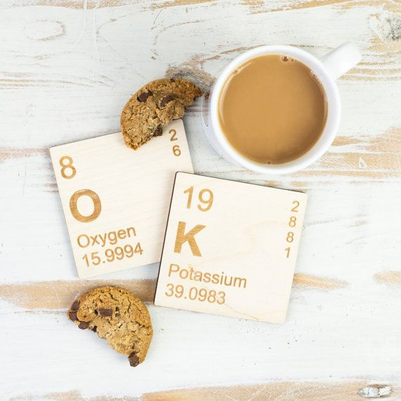 OK WOODEN COASTERS Periodic Table Elements Set Fun Geek