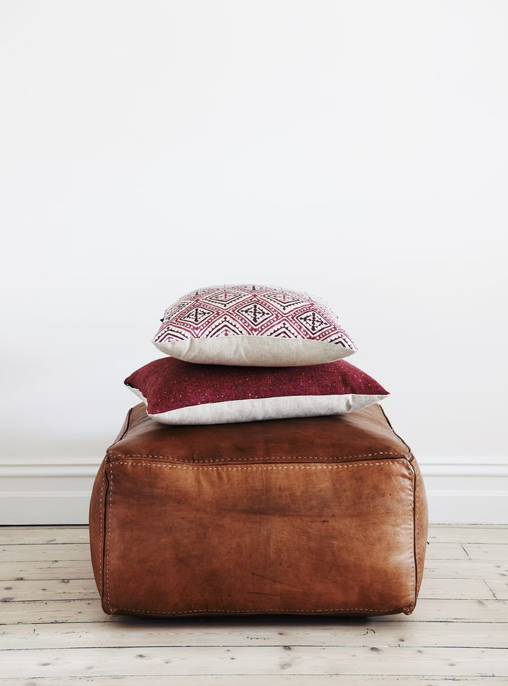 Bloom & Co Vintage Tan Leather Ottoman.