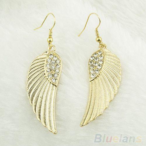 40 руб Горячая мода горный хрусталь ангельские крылья качают серьгу серебро золотые серьги для женщин 042U купить на AliExpress