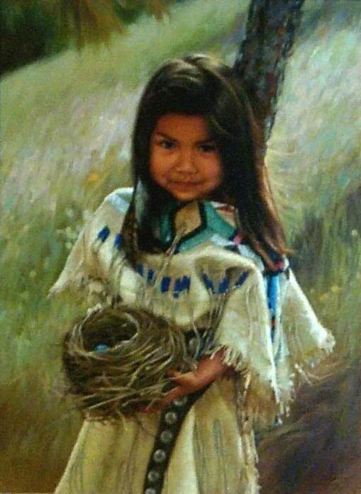 Little Native American Girl with Nest Aboriginal Art