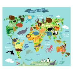 Animals World Map Poster Mural Light - American Decals