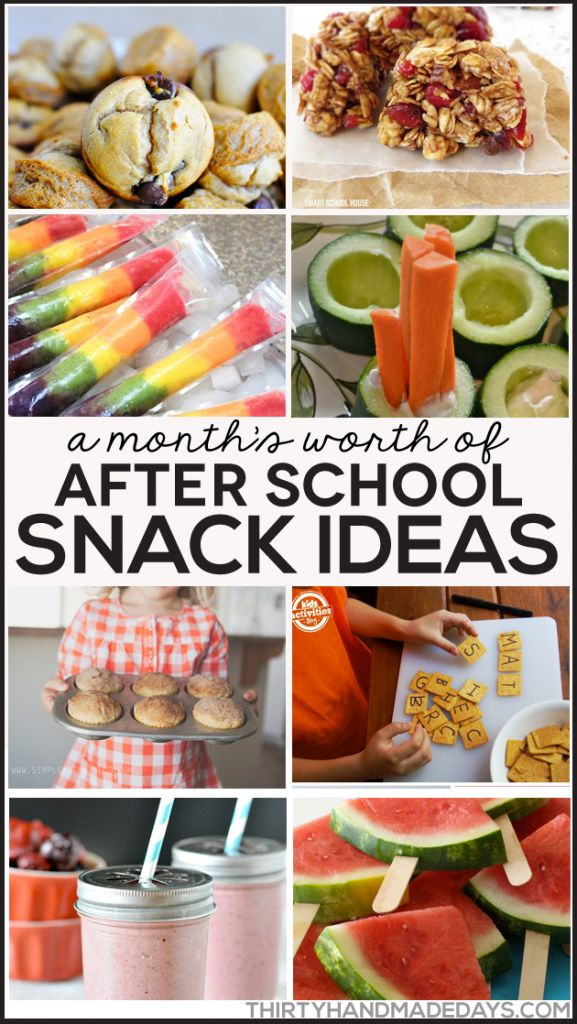 A month's worth of after school snack ideas