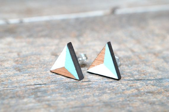 wood laser cut triangle white, light blue, earrings christmas  These earrings make a really cute accessory for your ears, they are laser cut, painted