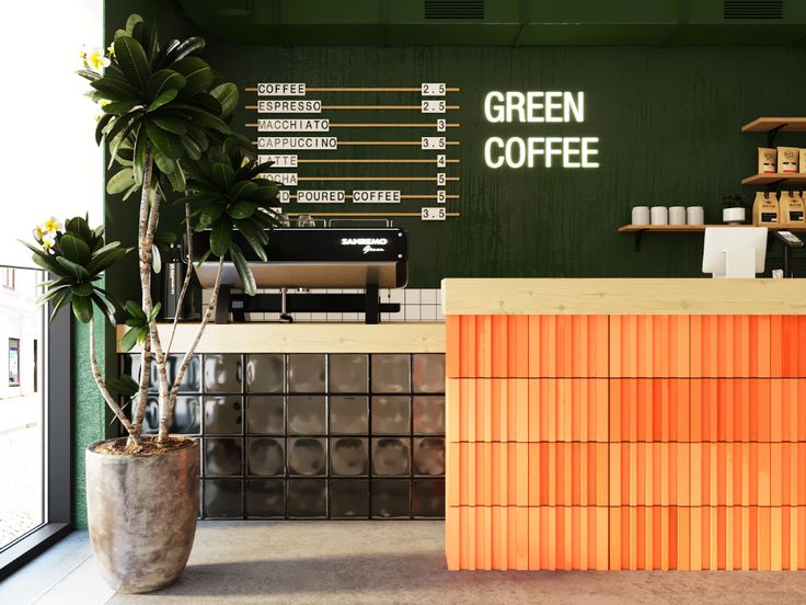 GREEN COFFEE | coffee shop on Behance в 2020 г | Кофейня, Кафе