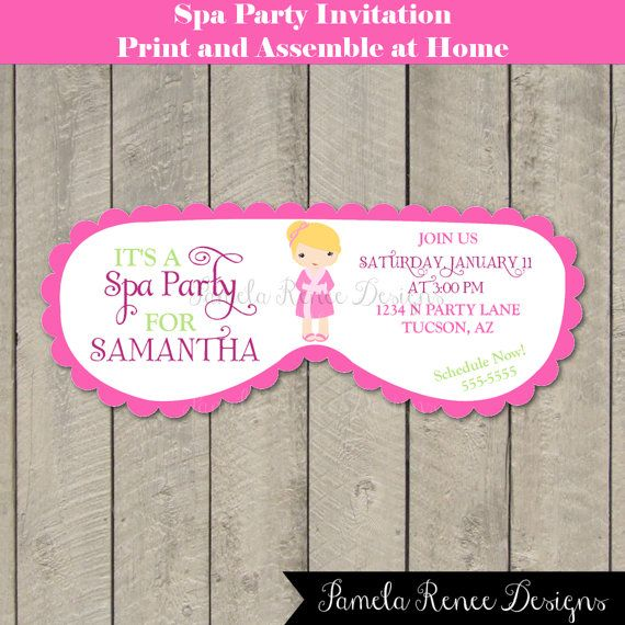 17 best images about spa party on pinterest kid for Spa mask invitation template