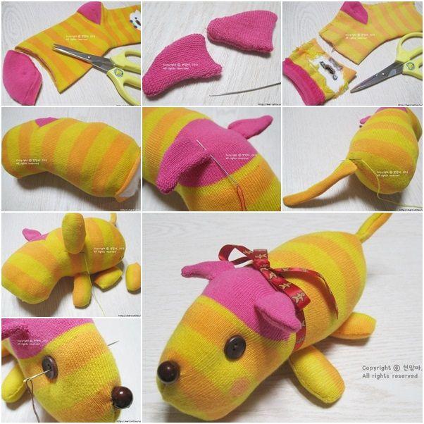 How to DIY Cute Sock Puppy tutorial and instruction. Follow us: www.facebook.com/fabartdiy