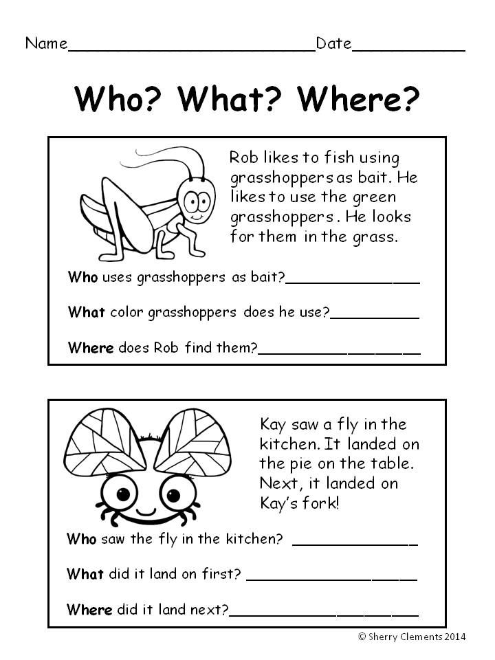 Worksheets Reading Comprehension For Grade 1 With Questions 17 best ideas about reading comprehension on pinterest bugs who what where
