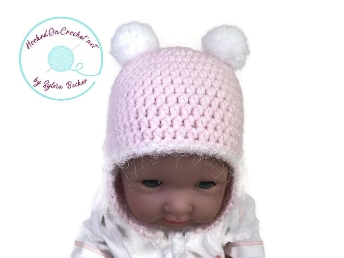 Crochet Earflap Hat for Baby Girl, pink white.  This high quality crochet Earflap Baby Girl Hat, pink, is hand made from super soft Baby Acrylic yarn. The hat can also be custom made.