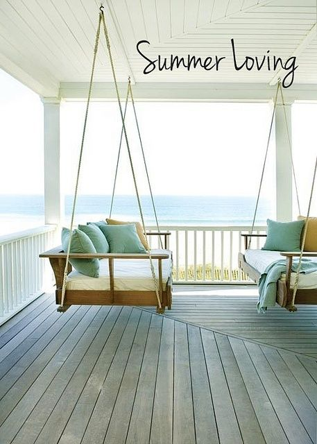 I want a porch swing (and a porch like this to put it on!) ... But just being on the beach would suffice too.