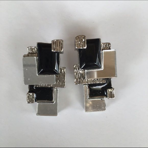 SALE Studio 54  Earrings Shiny square mirrors framed by silver metal and black geometric shapes.  These were of the likes seen at Studio 54 and L'amore. Vintage Jewelry Earrings