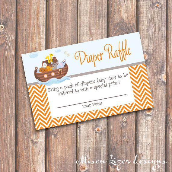 Noah's Ark Baby Shower Diaper Raffle Tickets - INSTANT DOWNLOAD on Etsy, $5.00