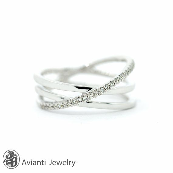 Ring, Criss-Cross ring, 14 karat white gold ring, Diamond ...