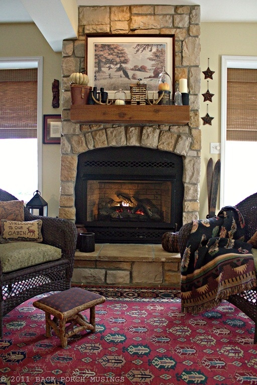 16 best images about lodge fireplaces wood stoves on for Lodge style fireplace ideas