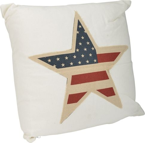 Prydnadskudde, Amerika 40x40 cm med amerikanska flaggan, vit, 3108388