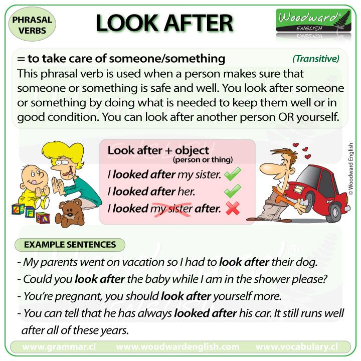 Phrasal Verb: LOOK AFTER  - The meaning and different examples of the English phrasal verb LOOK AFTER. #ESL
