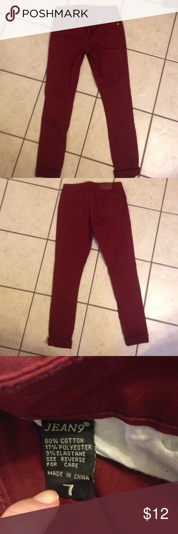 Maroon Skinny Jeans❤️ Worn one time, maroon color skinny jeans. Excellent condition from a non smoking home. Jeans Skinny