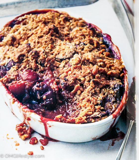 This delicious plum crunch dessert is one that I have adapted from Ina Garten's cookbooks. I like mine less sweet and more tart.