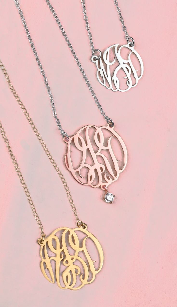 Create your own personalized monogram pendant! Choose from four different sizes, sterling silver, rose or yellow gold and have it made with your own initials. You can even add a charm to your pendant for extra flair. Free shipping and a free gift with every order!