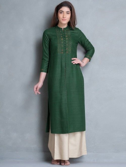 Green Mandarin Collar Thread Embroidered Matka Silk Kurta