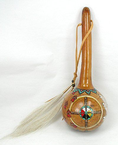 Native American Gourd Rattles | Native American Ceremonial Rattle Cynthia Whitehawk Apache white ...