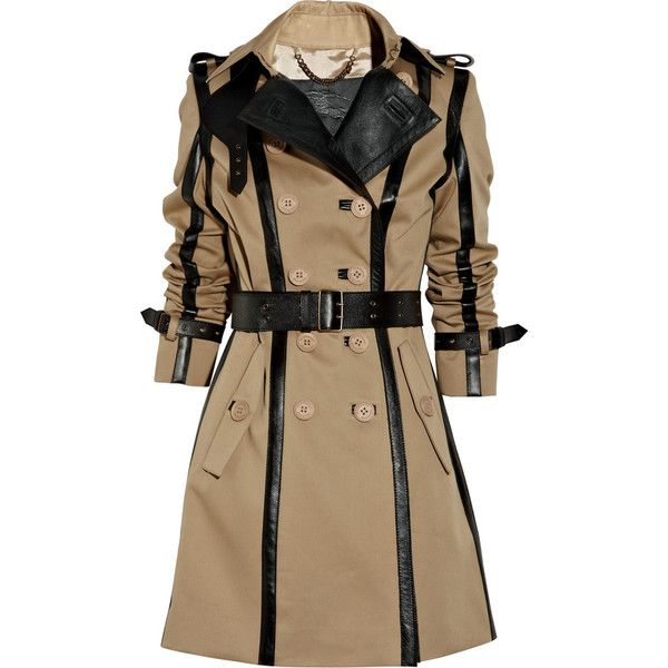Burberry Prorsum Leather-trimmed twill trench coat ($1,498) found on Polyvore