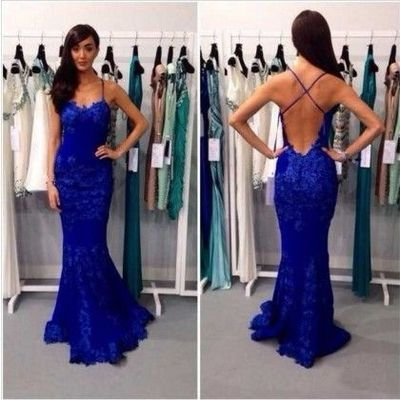 long prom dress, lace prom dress, blue prom dress, 2016 prom dress, custom prom…