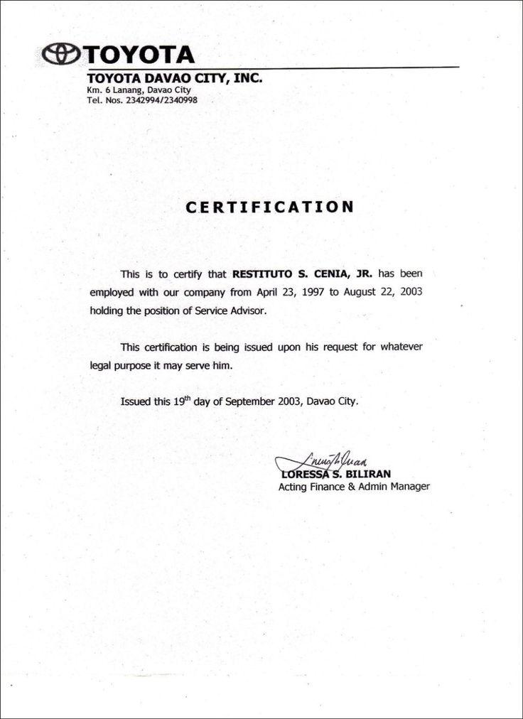 Employment Certificate Sample Best Templates Pinterest Marriage Inside Certificate Of Service Templat Word Template Design Certificate Templates Best Templates