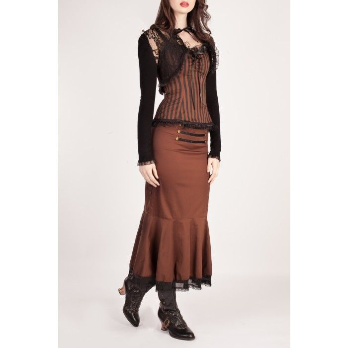Long Brown Steampunk Skirt with Lace Trim
