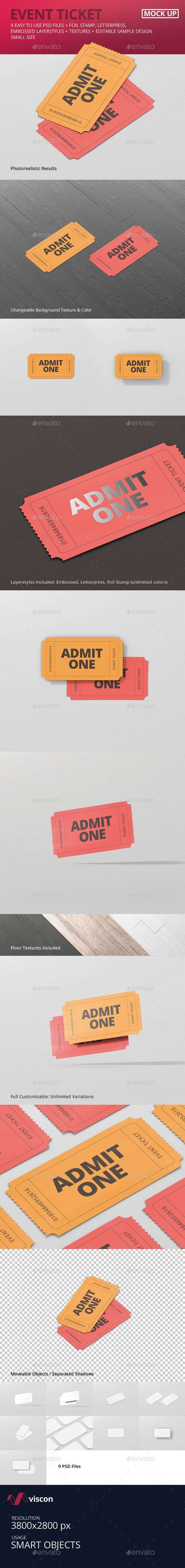 #Event #Ticket #Mockup - Small Size - Miscellaneous Print