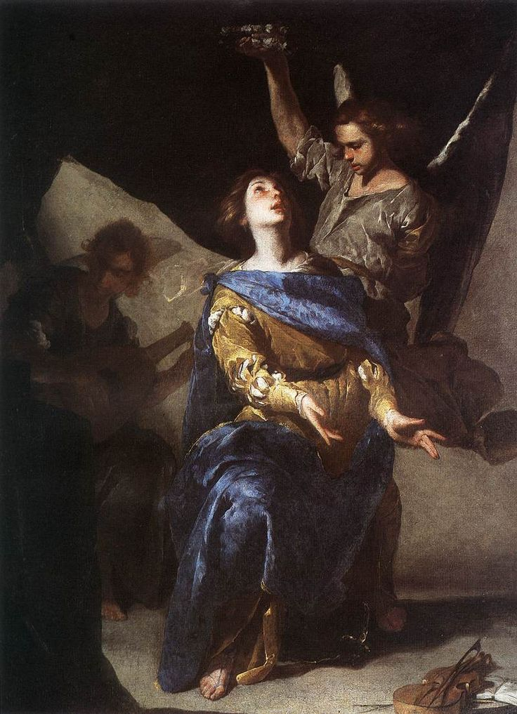 Bernardo Cavallino - The Ecstasy of St Cecilia. Date:	1645; Medium:	oil on canvas; Current location:	 National Museum of Capodimonte, Galleria Napoletana (800×1106)