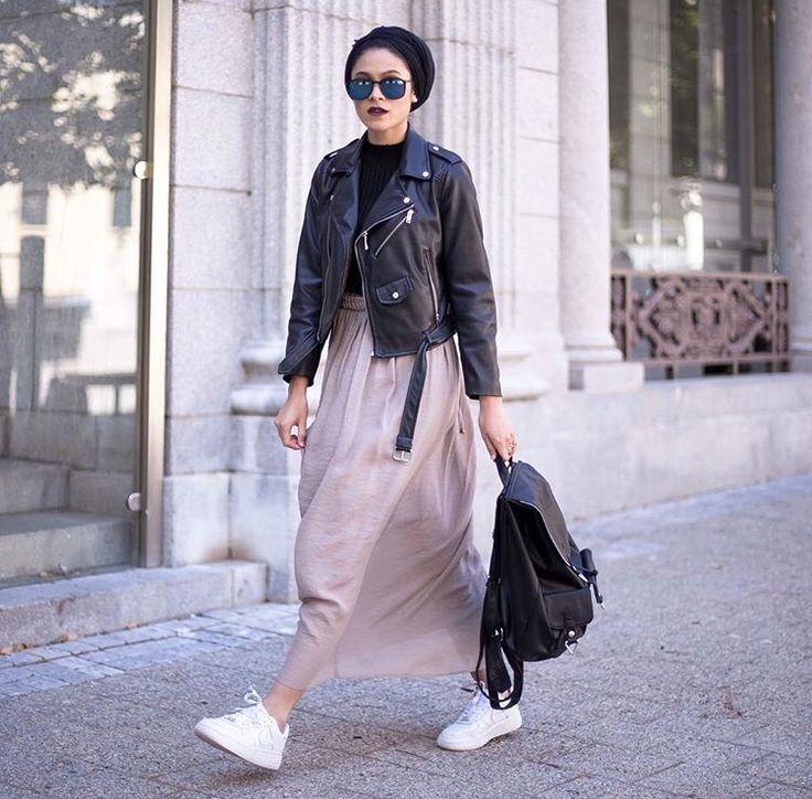 Hijab + Maxi Skirt + Leather (nabilahkariem)