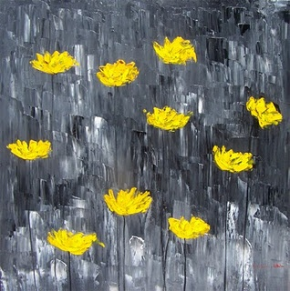 Yellow poppies with gray background - for bathroom behind whirlpool