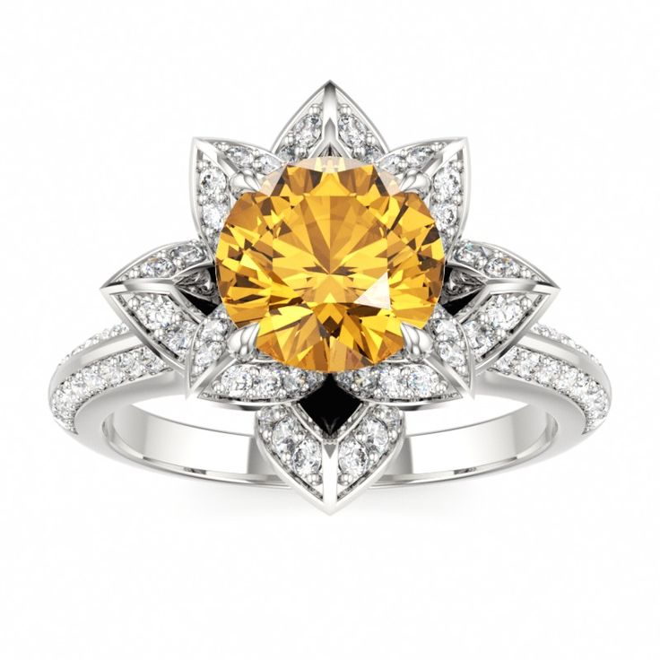 Citrine Engagement Ring LOTUS BLOSSOM ROYAL at Colors of Eden #engagement #ring