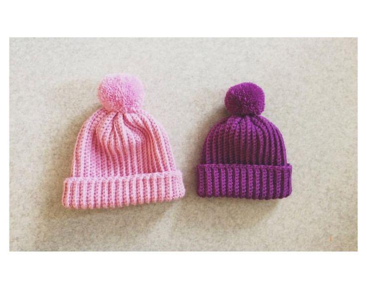 Knitted beanies for my friends cute little girls.😍❤️