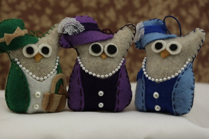 Owl Christmas Ornaments Felt Owl Ornament  Ladies Owl Set Handmade Owl Décor. $33.00, via Etsy.