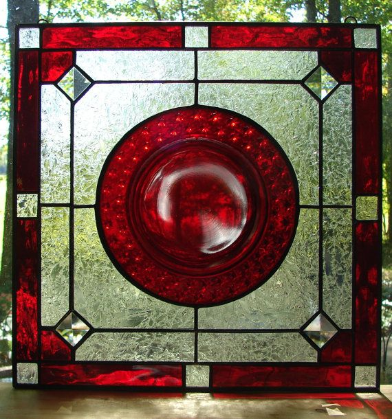 Ruby Stars stained glass panel by Barbarasstainedglass on Etsy