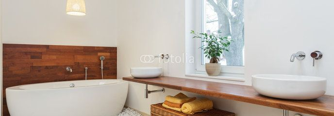Modern bathroom with wood accents