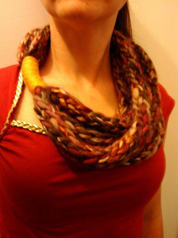 Cowl-finger knitting