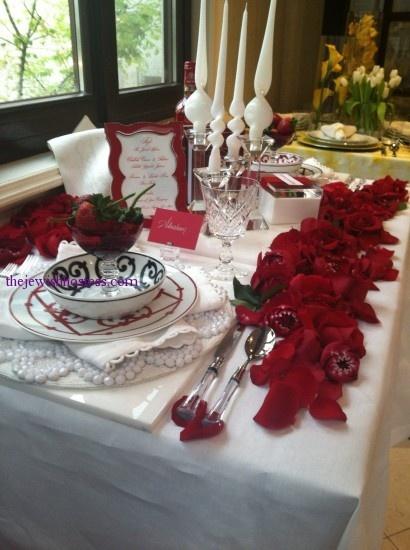 shabbat table, rose petals, red themed Shabbat table: Table Decor, True Colors, Rose Petals