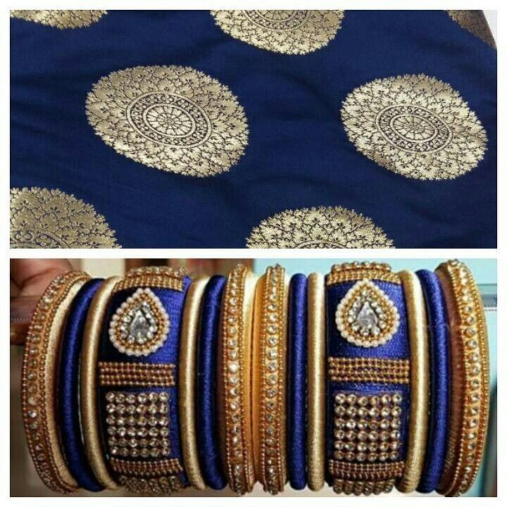 Matching silk thread jewellery with brocade suit