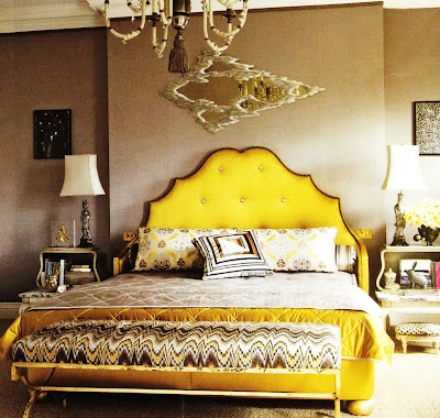 love this yellow bed frame