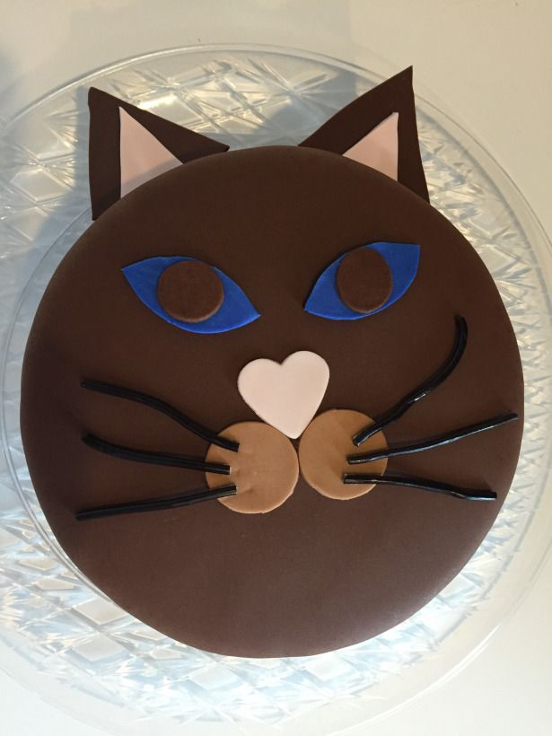 Cat Face Fondant Birthday Cake made with #PenBlades purchased from #PickYourPlum
