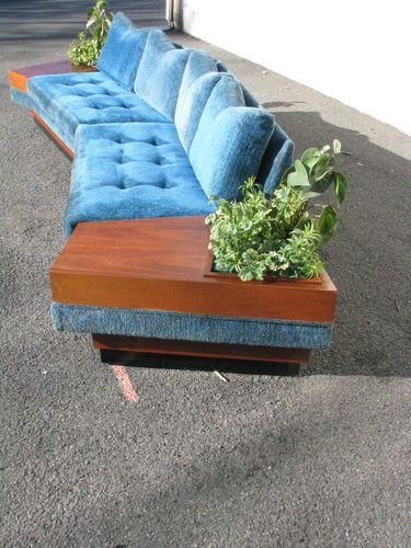 RARE Mid Century Modern Adrian Pearsall Boomerang Sofa w Planter End Tables   eBay