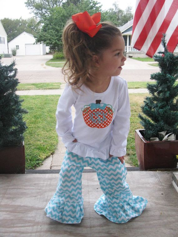 Monogrammed Girls fall outfit applique pumpkin fall boutique clothes halloween thanksgiving Pumpkin Patch Polka Dot Aqua Chevron Personalize