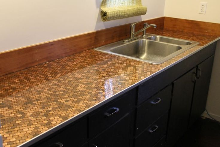 Penny Countertop With Thick Layer Of Polyurethane On Top