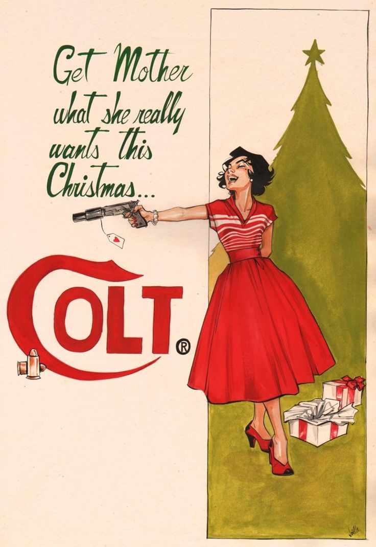 ColtVintage Christmas, Gift Ideas, Guns Control, Creepy Vintage, Families Christmas Gift, Funny Commercials, Christmas Mornings, Vintage Ads, Wraps Paper