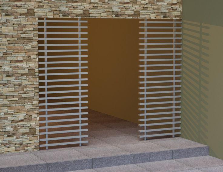 Καδρόνια μασίφ-ξύλου με στήριξη δάπεδο-ταβάνι που δημιουργούν είσοδο σε εσωτερικό χώρο [Σειρά Natural]