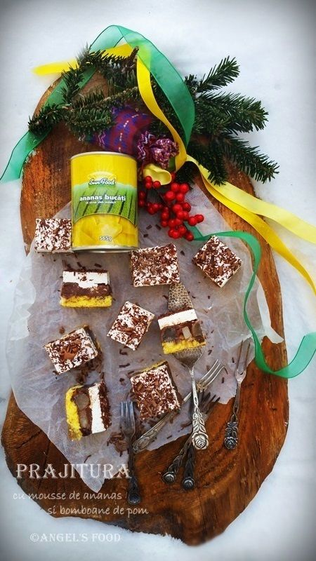 Angel's food: Prajitura cu mousse de ananas si bomboane de pom