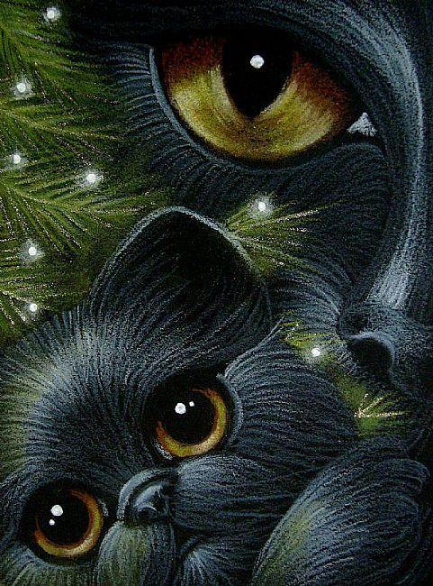 Black cat with Kitten by Cyra R. Cancel: http://www.ebsqart.com/Artist/Cyra-R-Cancel/11049/